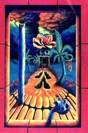 Skull Gardens by Vincent Monaco Blacklight Poster