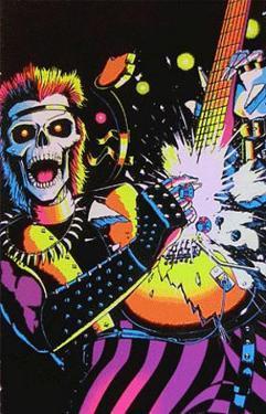 Skull Rocker Flocked Blacklight Poster
