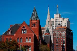 Skyline and church on Grand Avenue, St. Louis, Mo.