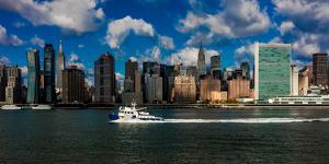 Skyline of Midtown Manhattan seen from the East River showing the Chrysler Building and the Unit...