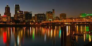 Skyline with City Light at Night, Portland, Multnomah County, Oregon, USA