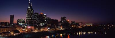Skylines at Night Along Cumberland River, Nashville, Tennessee, USA 2013
