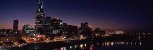 Skylines at Night Along Cumberland River, Nashville, Tennessee, USA 2013