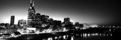 Skylines at Night Along Cumberland River, Nashville, Tennessee, USA