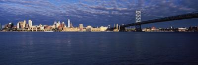 Skyscrapers and Ben Franklin Bridge, Delaware River, Philadelphia, Pennsylvania, USA