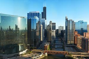 Skyscrapers in a City, Willis Tower, Chicago River, Chicago, Illinois, USA