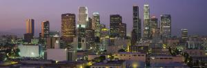 Skyscrapers in Los Angeles Lit Up at Dusk, California, USA