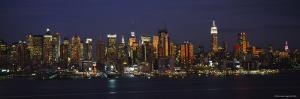 Skyscrapers in Manhattan Lit Up at Night, New York City, New York, USA