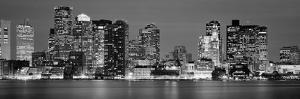 Skyscrapers lit up at night, Boston, Massachusetts, New England, USA