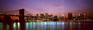 Skyscrapers Lit Up at Night, World Trade Center, Lower Manhattan, Manhattan, New York City, New ...