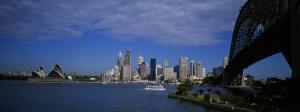 Skyscrapers on the Waterfront, Sydney Harbor Bridge, Sydney, New South Wales, UK, Australia
