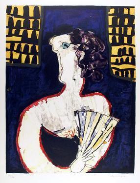 Woman with Fan by Slavko Kopac