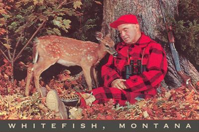 Sleeping Hunter with Fawn, Whitefish, Montana