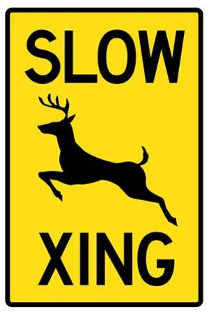Slow - Deer Crossing Plastic Sign