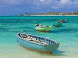 Small Fishing Boats in the Turquoise Sea, Mauritius, Indian Ocean, Africa