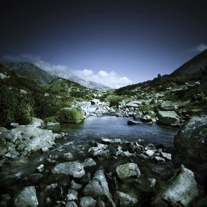 Small River Flowing Through Big Stones in Pirin National Park, Bulgaria
