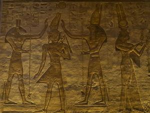 Small Temple or Temple of Hathor. The Gods Set (Left) and Horus (Right) Adoring Ramses II. Abu…