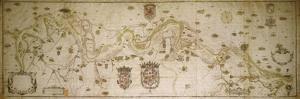 Map of the Po River from Colorno to Piacenza, 1605 by Smeraldo Smeraldi