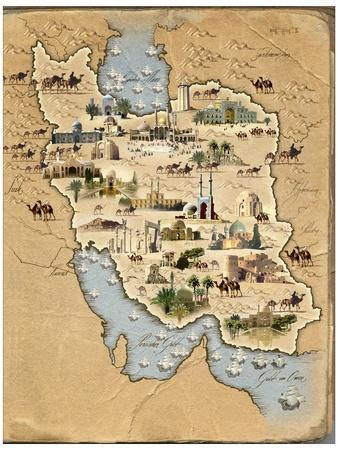 Iran, Pictorial Map
