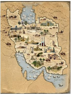 Iran, Pictorial Map by SMETEK