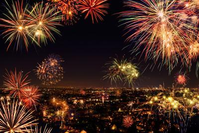 Whole City Celebrating with Fireworks by Smileus
