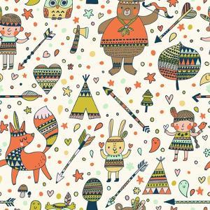 Beautiful Indian Seamless Pattern in Vector. Cute Cartoon Background in Bright Colors by smilewithjul