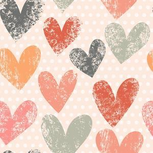 Bright Romantic Seamless Pattern Made of Colorful Hearts in Vector. Seamless Pattern Can Be Used Fo by smilewithjul