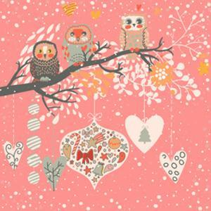 Cute Christmas Background with Funny Owls on the Branch and Balls. Happy New Year with Tree, Candy, by smilewithjul