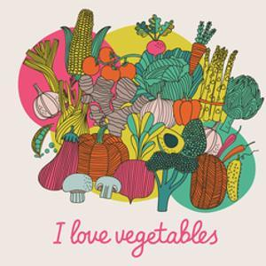 I Love Vegetables - Concept Vector Composition. Bright Tasty Design Element with Tasty Food by smilewithjul