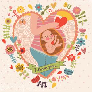 Pregnancy Concept Card in Cartoon Style. Baby and Mother in Love inside Hearts and Flowers by smilewithjul