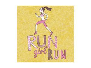 Run, Girl, Run. Cartoon Girl Running. Health Care Concept in Vector by smilewithjul