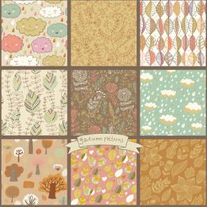 Set of Eight Autumn Seamless Patterns with Rain Clouds, Leafs, Flowers, Trees. Cute Vector Backgrou by smilewithjul