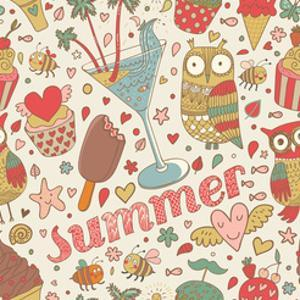Summer Concept Seamless Pattern with Ice Cream, Owl, Cocktail and Cupcakes in Cartoon Style. Seamle by smilewithjul
