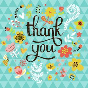 Thank You! Bright Cartoon Card Made of Flowers and Butterflies. Floral Background in Summer Colors by smilewithjul