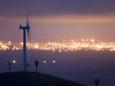 Te Apiti Wind Farm at Dawn, on the Lower Ruahine Ranges, Manawatu, North Island, New Zealand