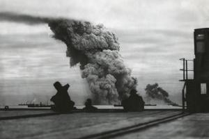 Smoke from a Merchant Ship Bombed in an Allied Convoy to the Soviet Union (Russia)