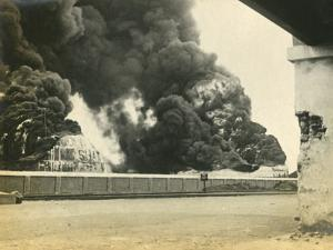 Smoke from Shelled Fuel Tanks in Madras