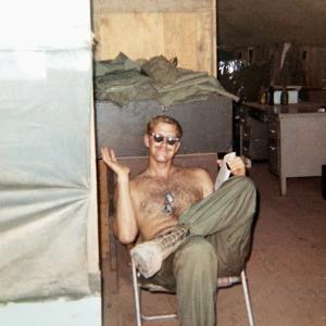 Snapshot of Vietnam War Soldier Relaxing on Base, Ca. 1970