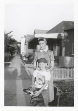 Snapshot of Woman, Son and Dog