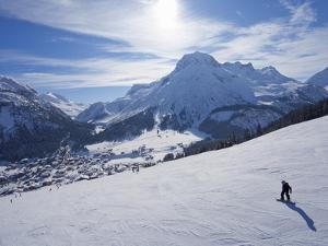 Snow-Boarder on Piste at Lech Near St. Anton Am Arlberg in Winter Snow, Austrian Alps