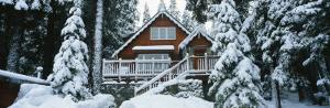 Snow Covered Chalet, Lake Tahoe, California, USA