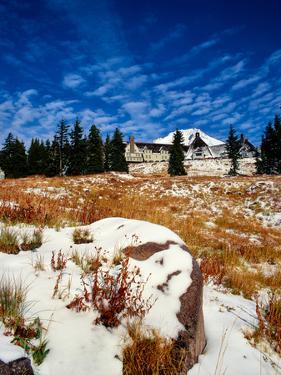 Snow covered landscape, Timberline Lodge, Mt Hood National Forest, Clackamas County, Oregon, USA