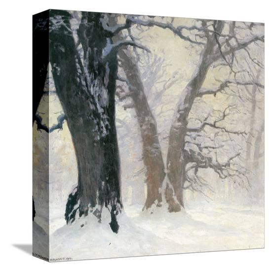 Snow Covered Oaks in the Sun-Eugen Bracht-Stretched Canvas