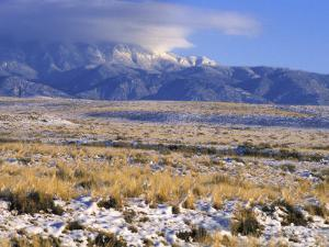 Snow on the Sandia Mountains and High Plains Near Albuquerque, New Mexico