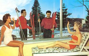 Snow Skiers with Women in Bathing Suits, Retro