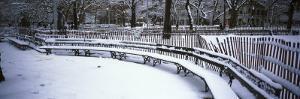 Snowcapped Benches in a Park, Washington Square Park, Manhattan, New York, USA
