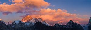 Snowcapped Mountain Peaks, Mt Everest, Lhotse, Dudh Kosi, Solukhumbu, Himalayas, Nepal