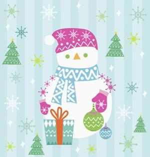 Snowman and Gift with Blue Background