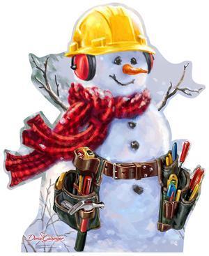 Snowman Construction Worker - Dona Gelsinger Art Lifesize Standup