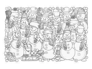 Snowmen & Snowball Coloring Art